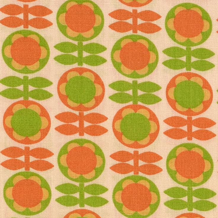 retro blumen orange gr n stoffen pinterest. Black Bedroom Furniture Sets. Home Design Ideas
