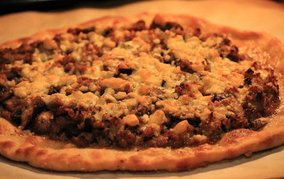 Caramelized Onion, Sausage, and Gorgonzola cheese Pizza ... I have no ...