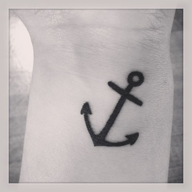 Simple anchor outline tattoo
