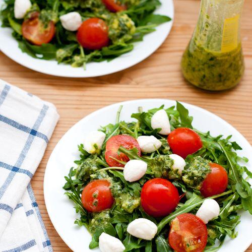 Arugula Salad with Fresh Mozzarella, Tomato, and Basil Vinaigrette