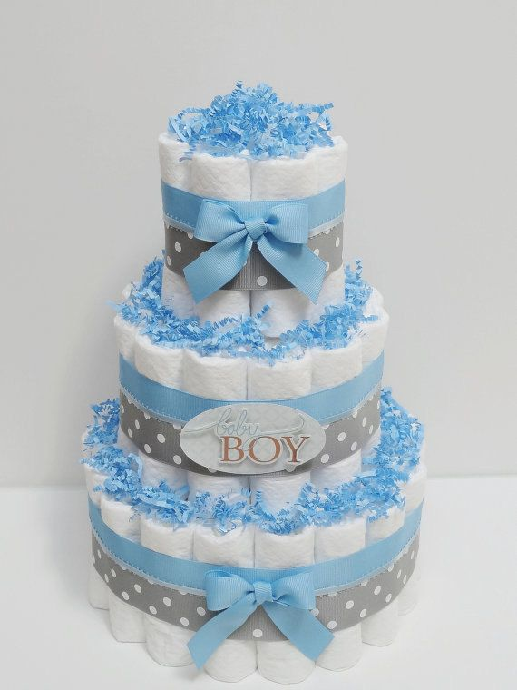 Baby boy blue and gray diaper cake shower centerpiece