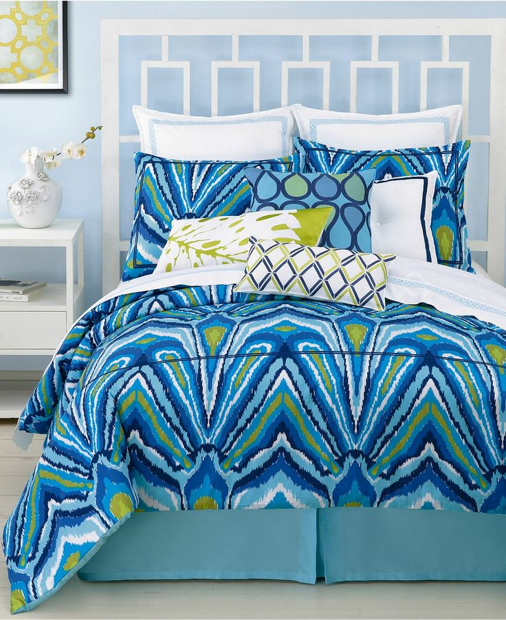 Trina turk blue peacock comforter and duvet cover sets - Peacock bedspreads ...