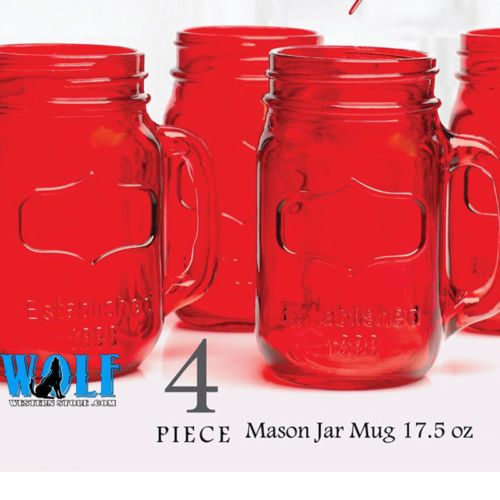 red mason jar glasses