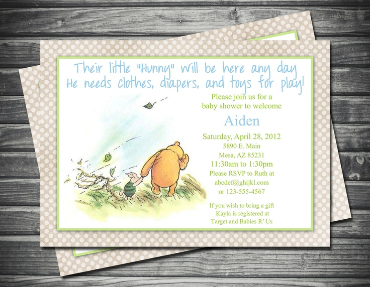 classic winnie the pooh piglet baby shower invitation