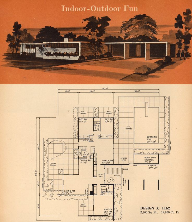 House plan mid century modern pinterest for Parts of the living room