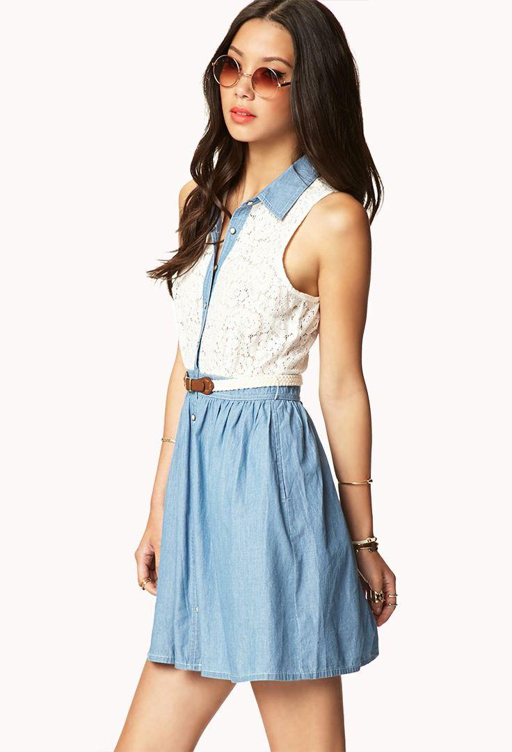 Crocheted Shirt Dress w/ Belt   FOREVER21 - 2048479011