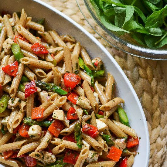 ... whole wheat penne, fresh spring asparagus, roasted red peppers and