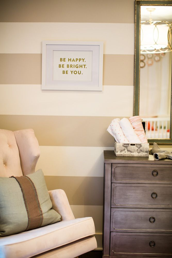 "Striped accent wall + adorable ""Be You"" print + modern glider = #nursery #love"