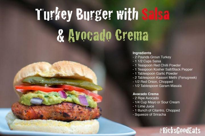 TURKEY BURGER WITH SALSA & AVOCADO CREMA This burger is so good health ...