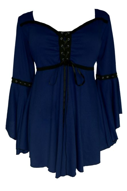 Plus Size Ophelia Corset Top in Midnight Blue FC34M - $44.99