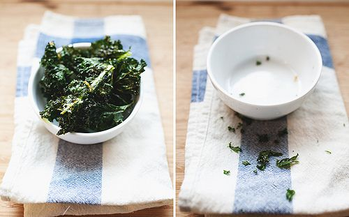 Kale chips.  I've never tried kale before, but I bought kale yesterday so I could try this recipe!