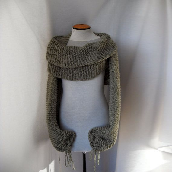 Knitting Pattern For Scarf With Sleeves : Scarf shawl with sleeves at both ends. FREE WORLDWIDE SHIPPING