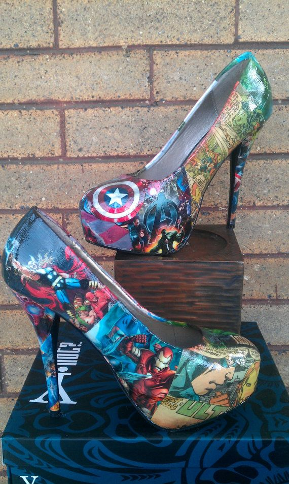 @Katie Hrubec Hrubec Wennell -- hum maybe these instead of blue for the wedding? Avengers Comic book Big Heels by FaithisFabulous on Etsy, $85.00