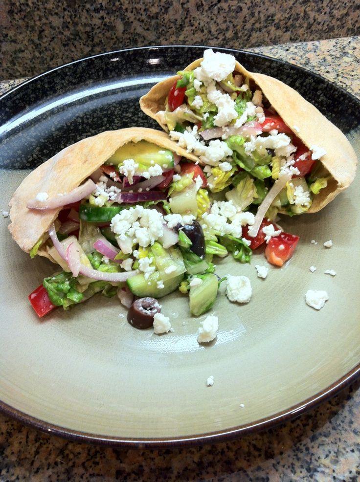 Greek Salad Pita Sandwich | food that makes me heart sing | Pinterest