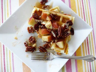 Waffles with Apple Cider Syrup and Pecans | Good Life Eats