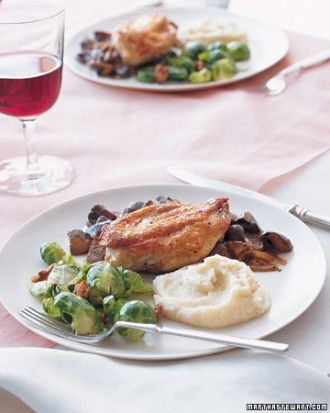 FALL MENU: Roast Chicken with Wild Mushroom Sauce Brussels Sprouts ...