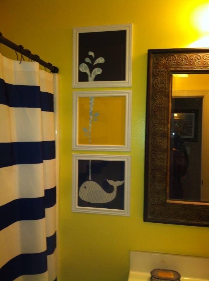 Navy and yellow nautical boys bathroom with whale art for Navy bathroom decor