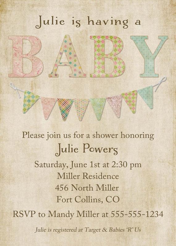 baby shower invitations gender neutral baby shower invite shabby chic