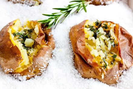 Salt-roasted potatoes with rosemary butter: 2 pounds coarse crystal ...