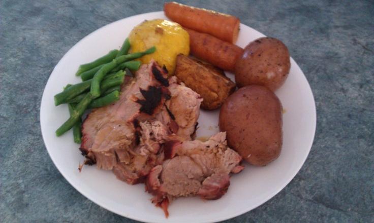 Pork Loin - sous vide @ 60 Deg C for 48hrs then apple wood smoked ...
