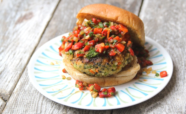 Quinoa Veggie Burger with Roasted Red Pepper Relish- freeze for later.