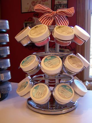 Embossing Powder Organization - think maybe it's a K-Cup holder for coffee.  Cute idea!