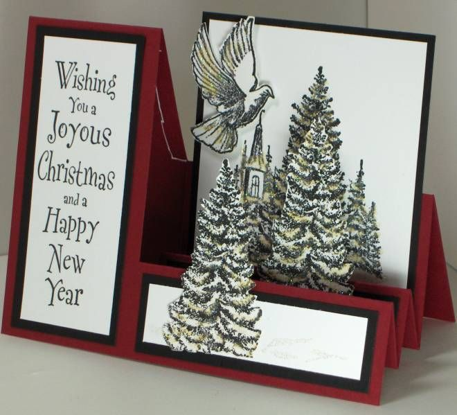 Side step fold christmas cards pinterest for How to make folded christmas cards