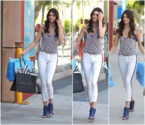Kendall Jenner Goes Out Shopping in White Jeans with Black Stripes – Shaggy or Stylish?