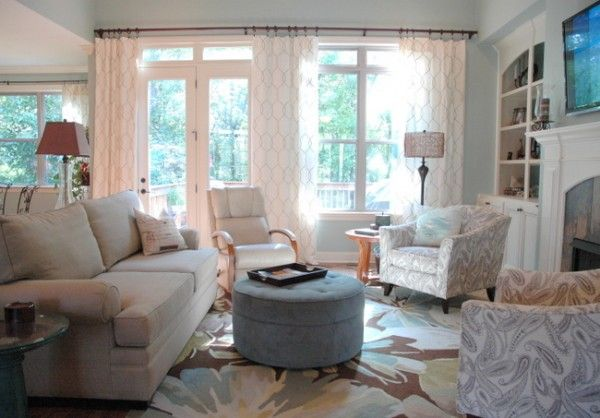 Properly hanging window treatments. Unify french door and awkward ...