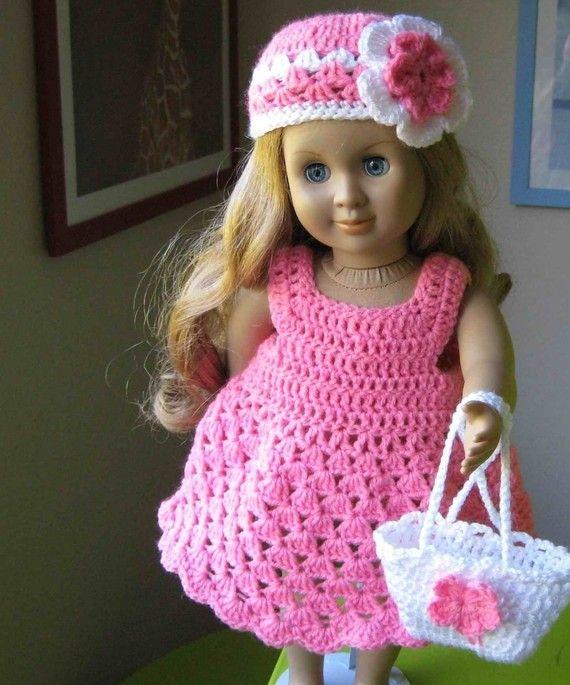 Crochet Patterns American Girl Doll : Doll dress ParTTERN Crocheted doll dress for American Girl, Gotz or s ...