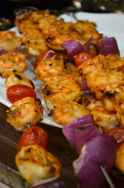 sweet & spicy shrimp kebabs...with honey, lime, and sriracha sauce