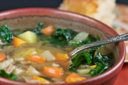 Chicken soup with roasted kale and butternut squash: http ...