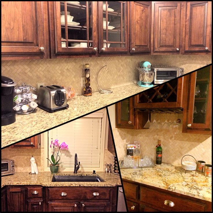 herringbone backsplash travertine dark cabinets granite