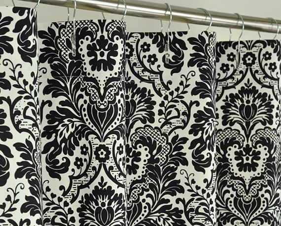 Black damask shower curtain 72 x 72 black amp off by pondlilly 127 99