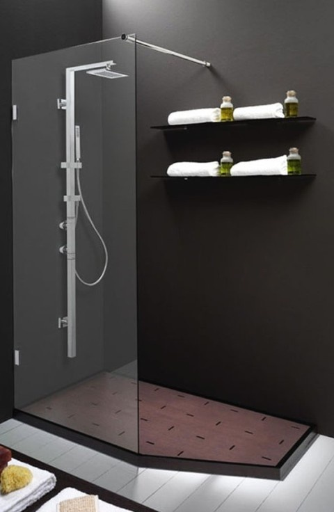 Door without glass shower bathroom thought starters for Showers without glass