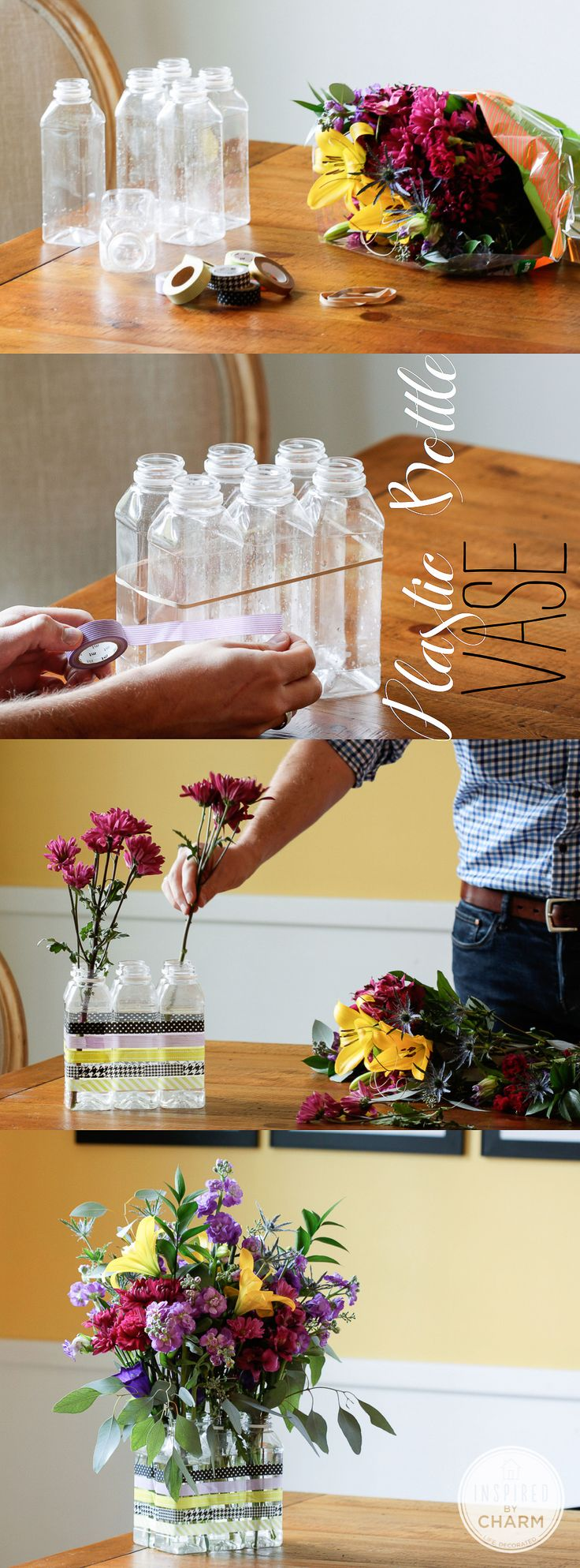 Make a no-cost vase from empty plastic bottles...but hide them in a basket or bucket or some such.