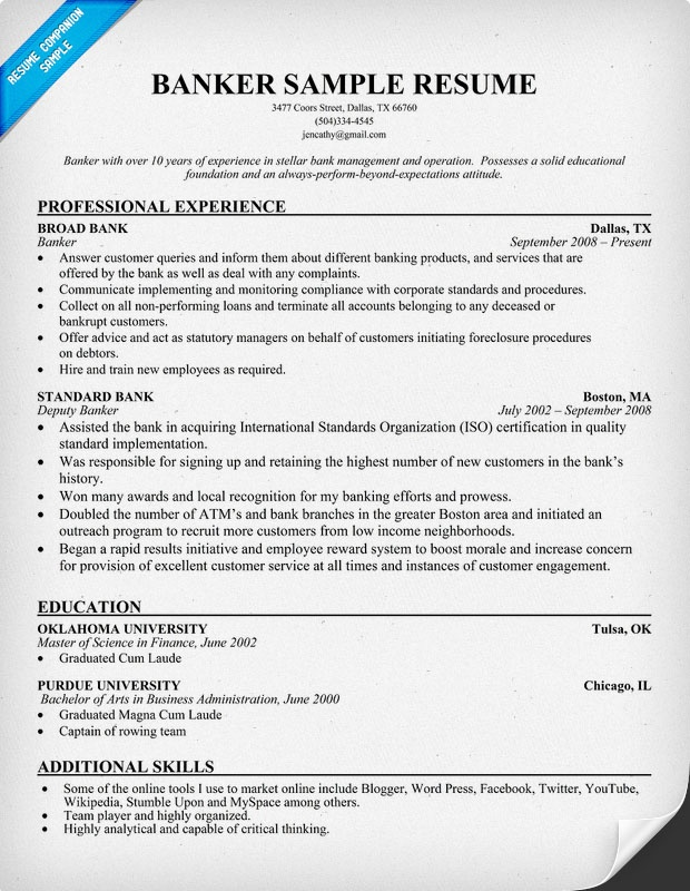 Banker Resume Sample | Tech and Biz | Pinterest