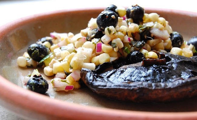 Grilled Portabella Caps with Sweet Corn, Blueberry and Fennel Salsa ...