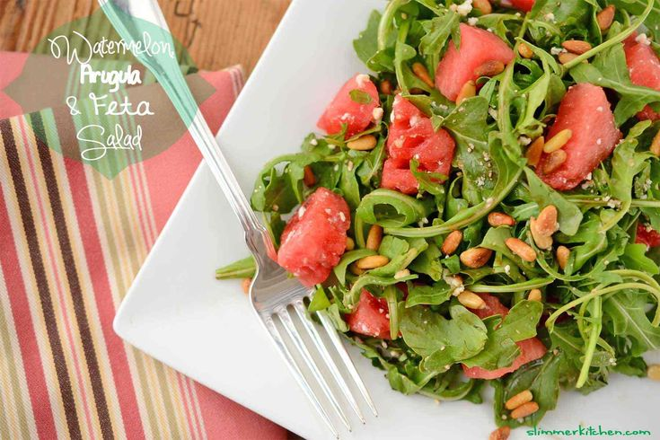 Watermelon, Arugula and Feta Summer Salad - yum! #recipe