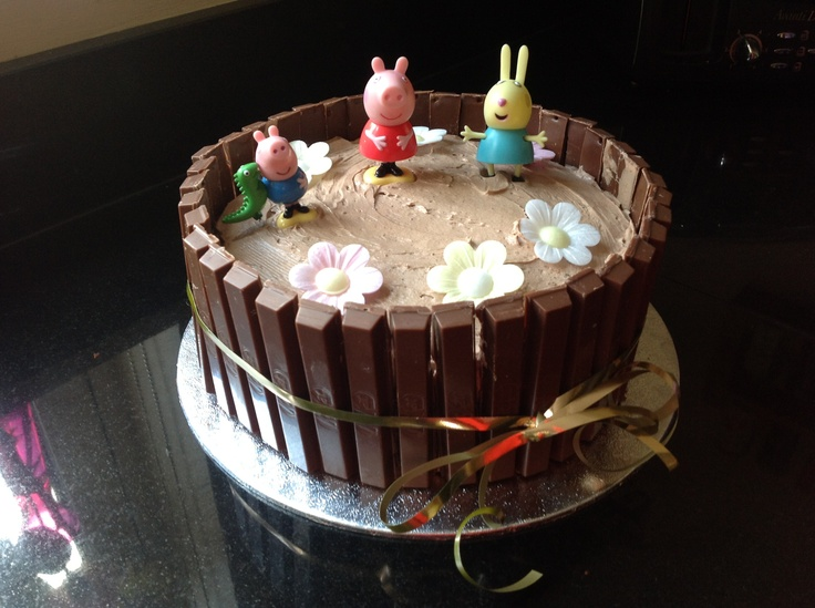 Peppa Pig Kit Kat cake made by my 10 year old daughter for her 6 year ...