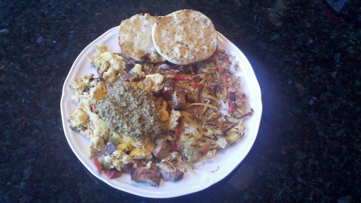 ... an epicurious.com recipe. Crispy hash browns and muffin on the side