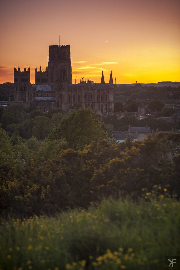Sunset in Durham England behind the Cathedral