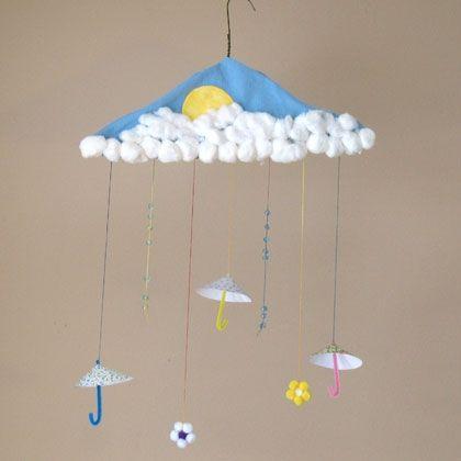April showers mobile spring crafts for kids pinterest for Coat hanger art projects