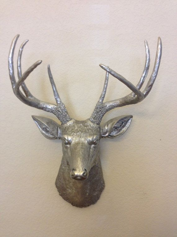 Faux deer head hunting trophy with antlers silver for Fake deer antlers for crafts