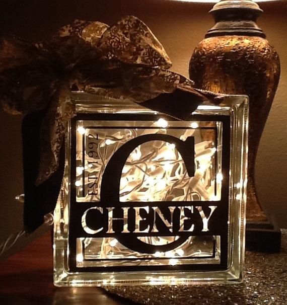 Vinyl Decorative Glass Blocks Lighted Custom Name W Year