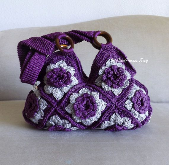 Crochet Granny Square Purse : Crochet Purple and Grey Floral granny square shoulder bag, granny squ ...