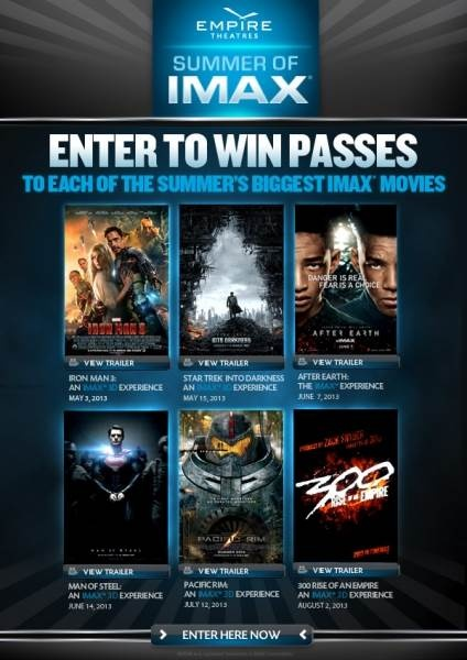 CANADA only ( No QC,NT,NU,YK or SK ) Sweepstakes ~ Win 1 Of 4 #Imax ...