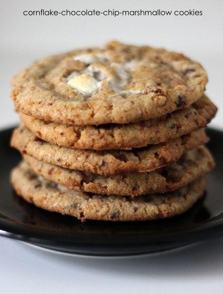 cornflake, chocolate chip, marshmallow cookies (+recipe)