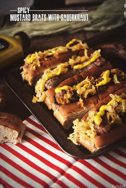 Grilled Bratwurst With Beer, Mustard, And Sauerkraut Recipe ...