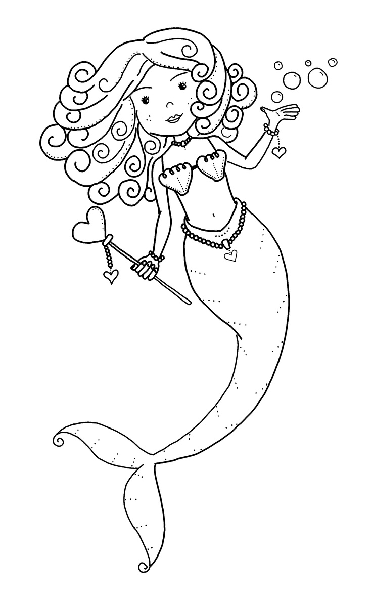 mermaid color page girls party theme pinterest